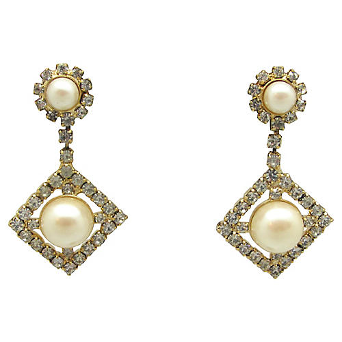 Geometric Pendulum Faux-Pearl Earrings