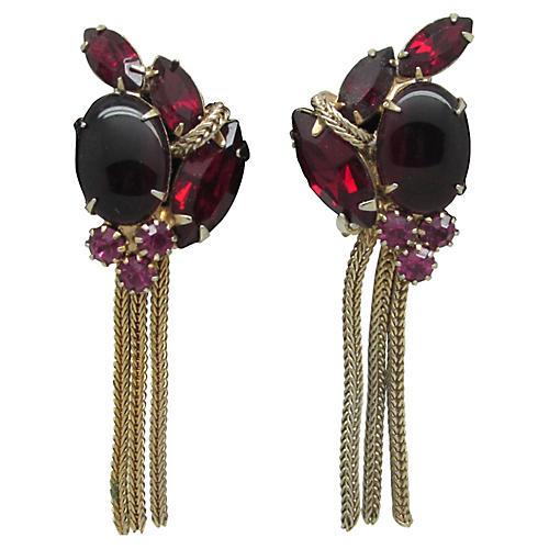 Red Rhinestone Fringe Earrings