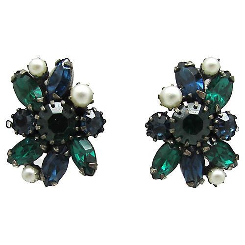 Vendome Faux-Pearl & Rhinestone Earrings