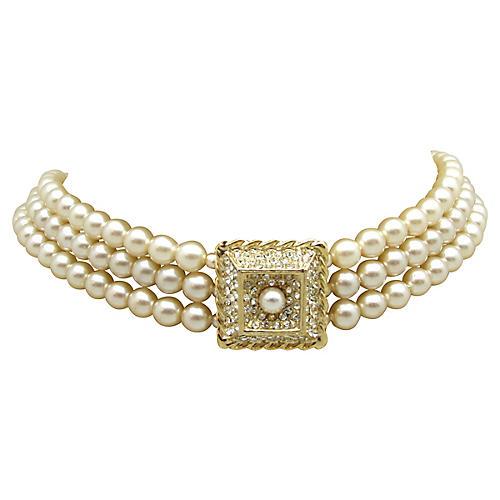 Edwardian-Style Faux-Pearl Choker