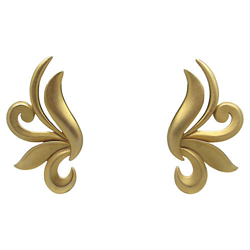 JJ Matte Goldtone Scroll Earrings