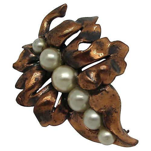 Rebaje Copper Leaf Pin w/ Faux-Pearls