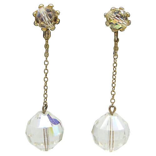 Faceted Glass Pendulum Earrings