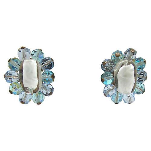 Faceted Glass Bead Flower Earrings