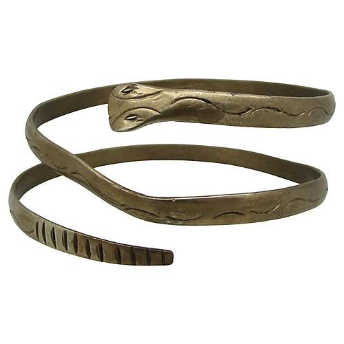 Engraved Brass Snake Bangle