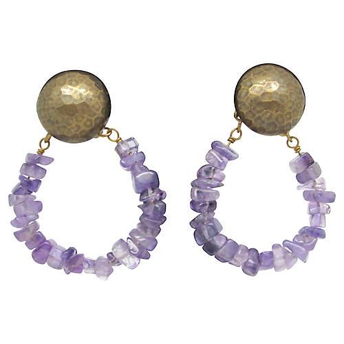 Jan Michaels Earrings w/ Amethyst Stones