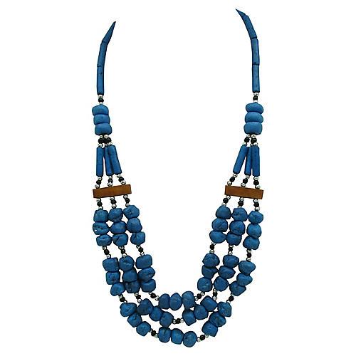3-Strand Blue Ceramic Bead Necklace