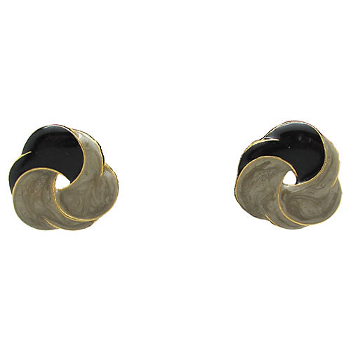 Two-Tone Enamel Swirl Earrings