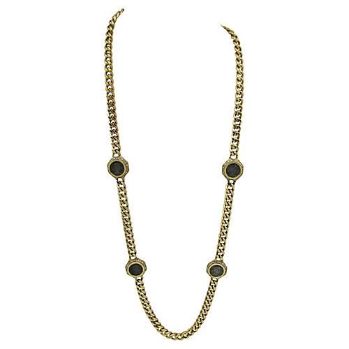 Ciner Link Necklace w/ Grecian Coins