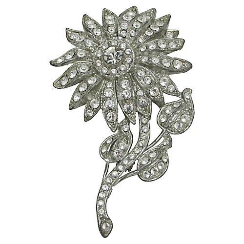 1930s Ornate Rhinestone Flower Brooch