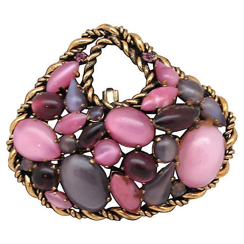 Pink & Purple Glass Cabochon Brooch