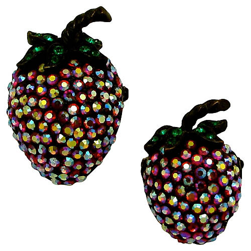Weiss Rhinestone Strawberry Pins, Pair