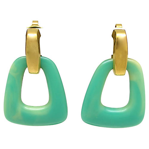 Trifari Faux-Jade Door Knocker Earrings