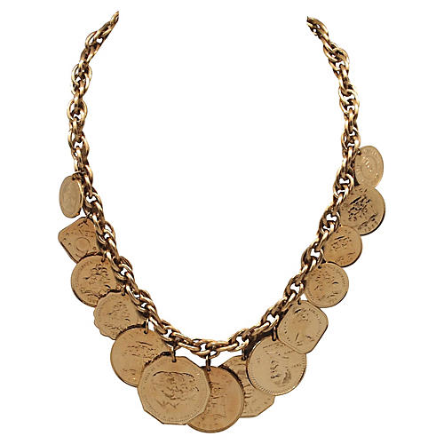 Double Link Necklace w/ Coin Charms