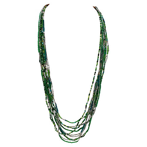 10-Strand Green Seed Bead Necklace