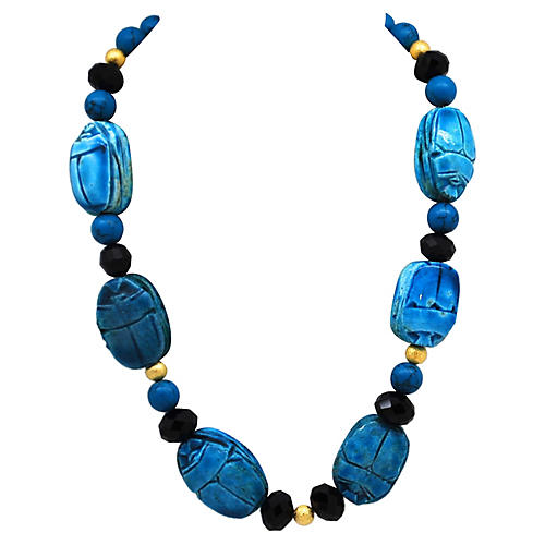 Scarab & Faceted Glass Bead Necklace