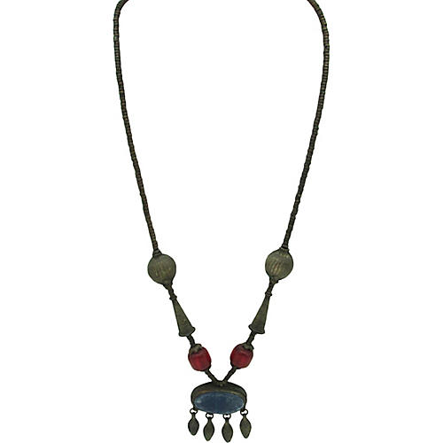 Tribal Metal Bead & Lapis Necklace