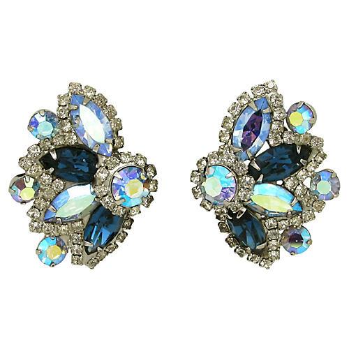 Blue & AB Rhinestone Earrings