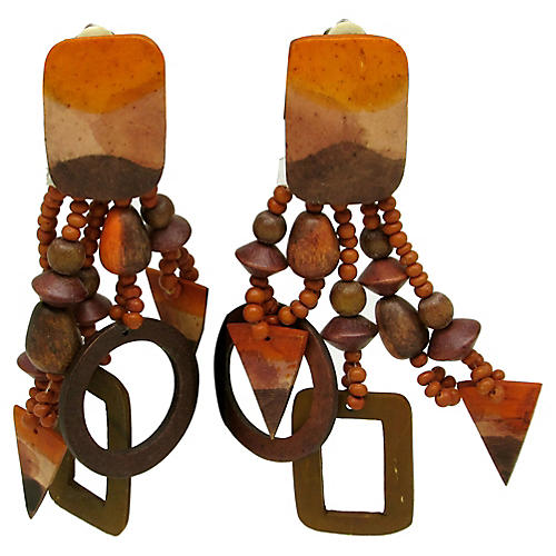 Wood Earrings w/ Geometric Fringe