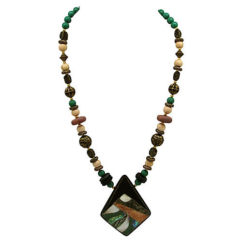 Bead Necklace w/ Mosaic Pendant