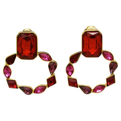 Jewel-Tone Rhinestone Pendulum Earrings