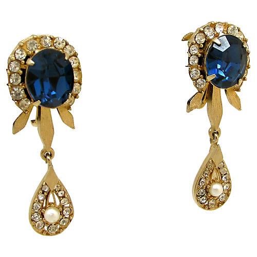 50s Francois Blue Glass & Pearl Earrings