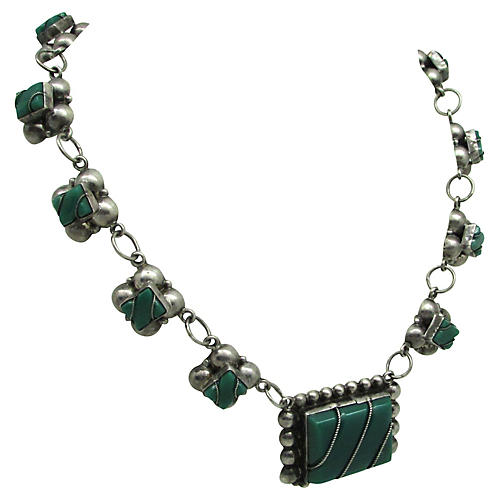 Mexican Sterling & Malachite Necklace