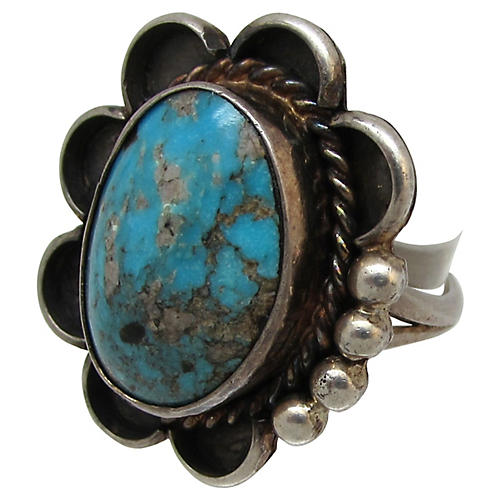 Sterling & Turquoise Flower Ring