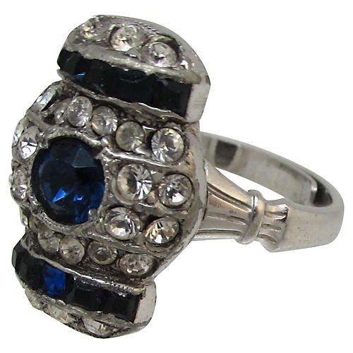 Art Deco Rhinestone Cocktail Ring
