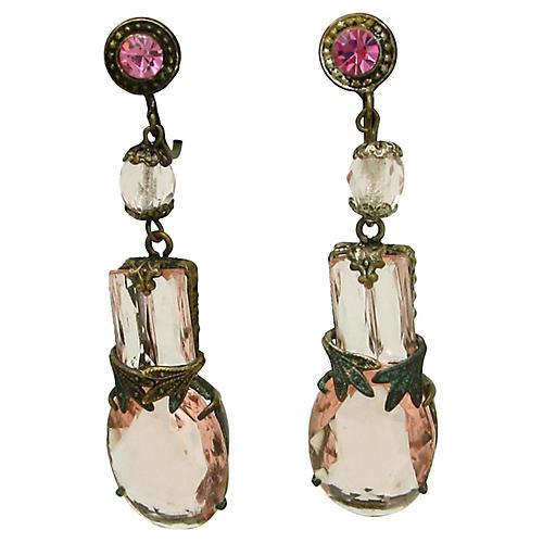 Czech Pink Glass Earrings