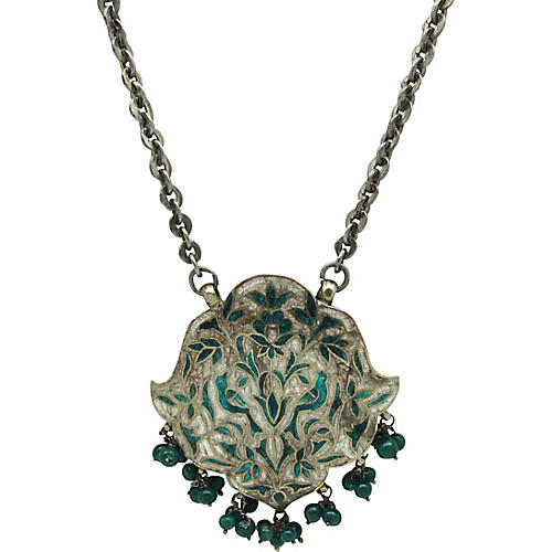 Enameled East Indian Pendant on Chain