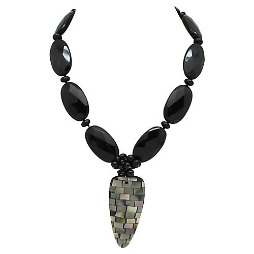 Faceted Bead Necklace W/Mosaic Pendant