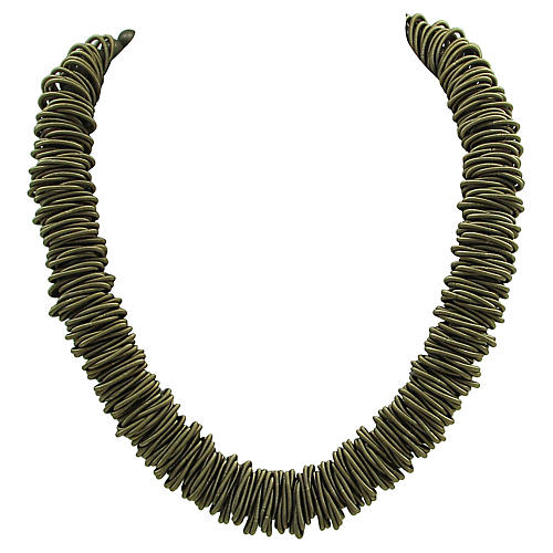 Modern Bead and Coiled Wire Necklace
