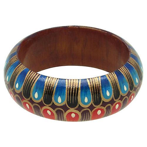 1980s Painted Peacock Design Wood Bangle