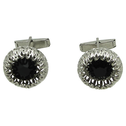 Filligree Cufflinks with Black Glass