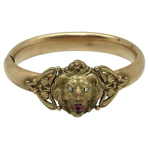 Antique H&H Hinged Lion Bangle