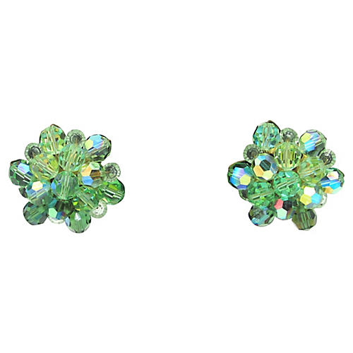 1950s Green Faceted Glass Earrings