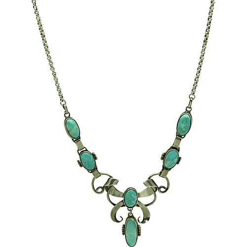 Ornate Sterling & Turquoise Necklace