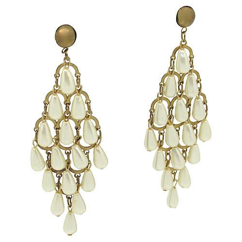 Chandelier Teardrop Faux-Pearl Earrings