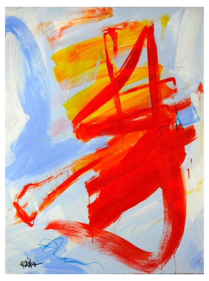 Orange Shape on Blues Abstract