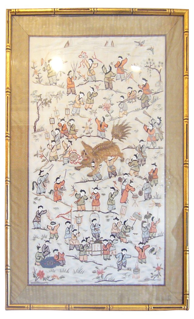 Chinese Embroidered Framed Wall Hanging