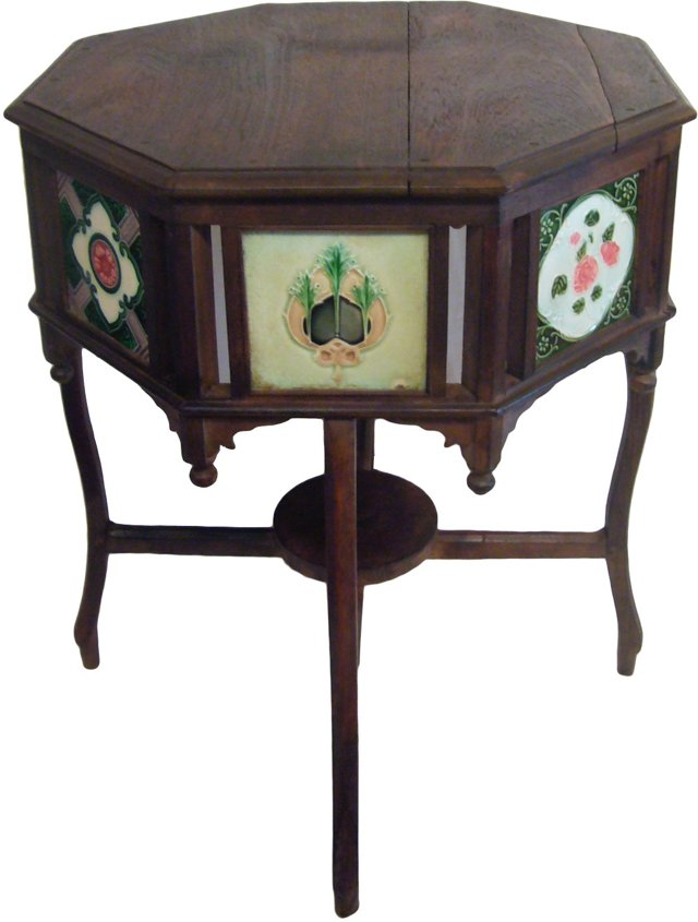 19th-C. Indian Tile Side Table