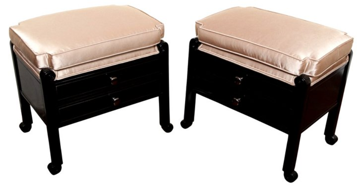 French Art Deco Stools, Pair