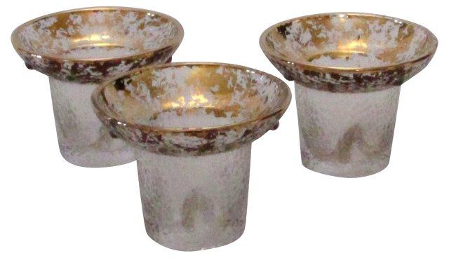 Gold Leaf Glass Candleholders, S/3