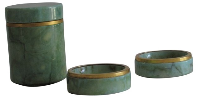 Italian Alabaster Jar & 2 Bowls