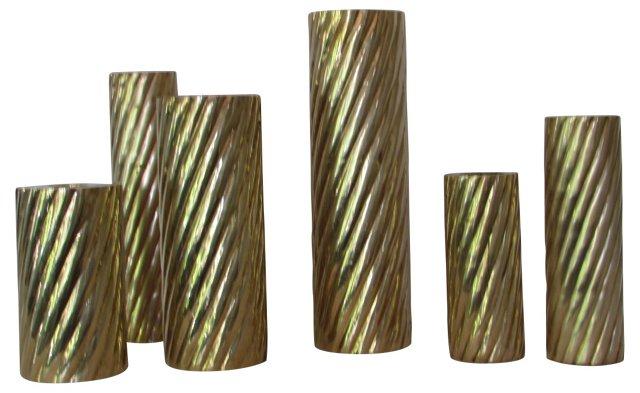 Brass Candleholders, S/6