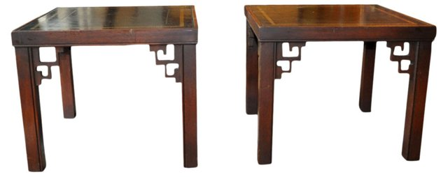 Leather-Top Tables,  Pair
