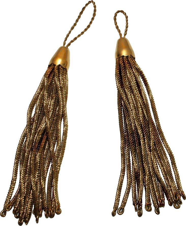 Gold Tassels w/ Cap, Pair