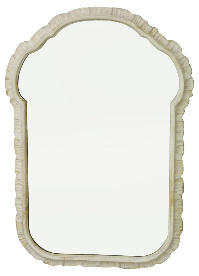 Whitewashed Rococo-Style Mirror