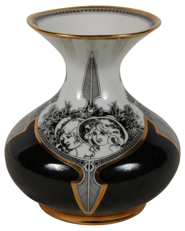 Black and Gold Porcelain Bud Vase